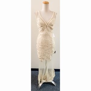 Nikibiki Ivory Lace Dress w See Through Skirt